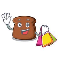 Shopping brown bread character cartoon vector