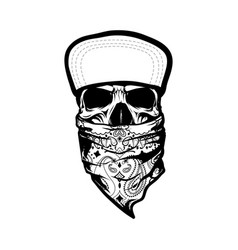 skeleton wearing bandana and cap vector image