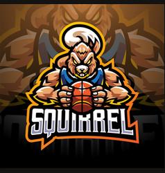 squirrel sport esport mascot logo design vector image