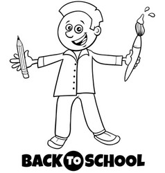 student boy back to school cartoon color book vector image