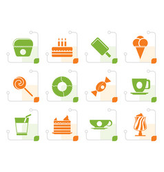 stylized sweet food and confectionery icons vector image