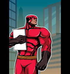 Superhero holding book in city vertical vector