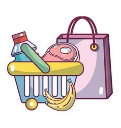 supermarket products cartoon vector image