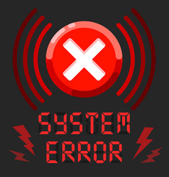 system error alert message with alarm sign vector image