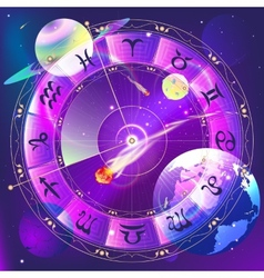 The signs of the zodiac zodiac circle in space vector image