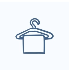Towel on hanger sketch icon vector image