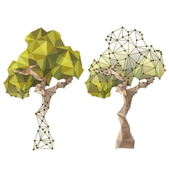 Tree in low poly style vector