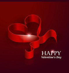 Valentines day ribbon heart vector