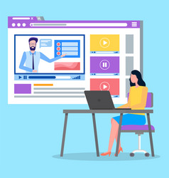videoplayer in social network woman sitting vector image