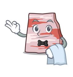 Waiter pork lard mascot cartoon vector