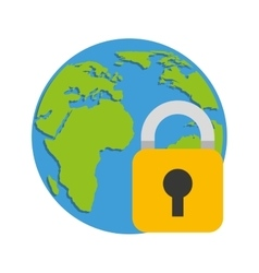 world planet with padlock vector image