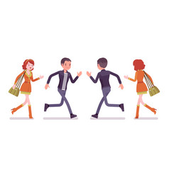 young man and woman running front rear view vector image