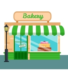 Bakery Shop stores front icon flat style vector image