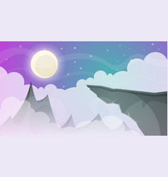 cartoon night landscape comet moon mountains vector image vector image