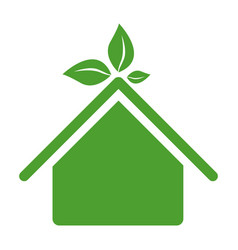 green sticker house with leaves above the roof vector image