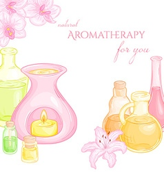 oil burner with orchid and lily flowers and set of vector image vector image