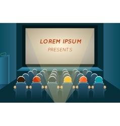 People watching film in cinema vector image vector image