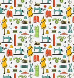 Sewing and tailor elements in seamless pattern vector image vector image