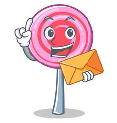 with envelope cute lollipop character cartoon vector image