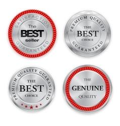 Best silver badges set Round metal medal or vector image