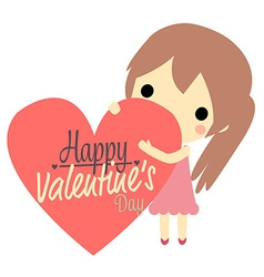 cute girl and big heart vector image
