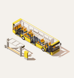 isometric low poly bus cross-section vector image