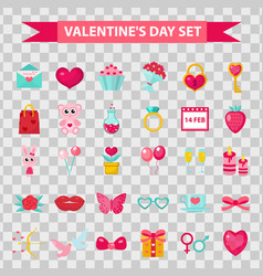 valentines day icons flat style isolated on vector image vector image