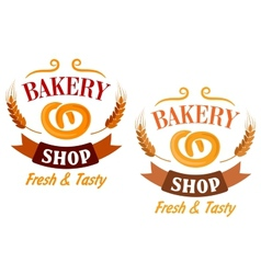Bakery Shop and pretzel sign vector image vector image
