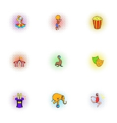 Circus icons set pop-art style vector image vector image