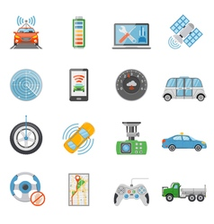 Driverless Car Autonomous Vehicle Icons Set vector image vector image