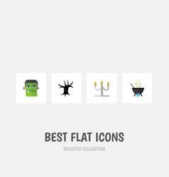flat icon halloween set of candlestick terrible vector image vector image