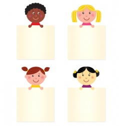 kids with blank banners vector image