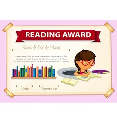 Reading award template with girl reading vector