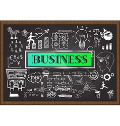 Business Icon Set on Chalkboard vector image vector image