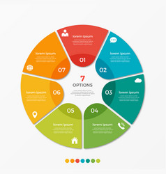 circle chart infographic template with 7 options vector image vector image