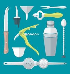 flat style barman instruments set vector image