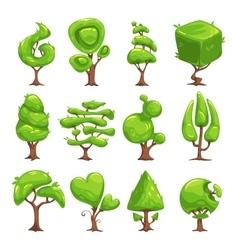 Funny cartoon fantasy shape tree set vector image vector image