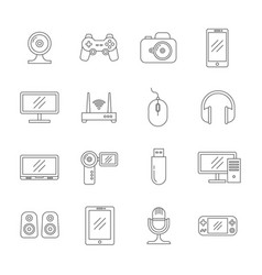 gadgets and computer technology thin line vector image vector image