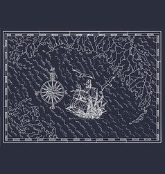 pirate treasure map with sailboat and compass vector image