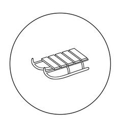 sled icon in outline style isolated on white vector image vector image