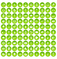100 mobile icons set green vector