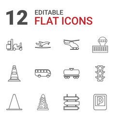 12 traffic icons vector