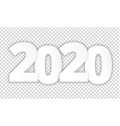 2020 happy new year white paper cut vector image
