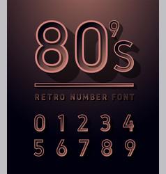 80s number copper color vintage sans serif vector image