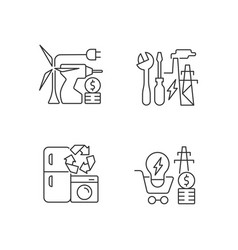 Alternative energy cost linear icons set vector