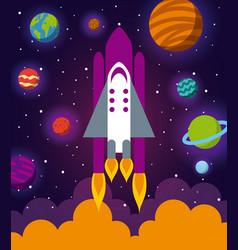 astronaut ship flat vector image