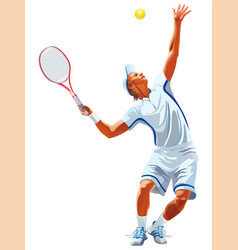 attractive male tennis player hitting the tennis vector image
