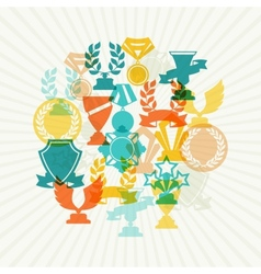 Background with trophy and awards vector image