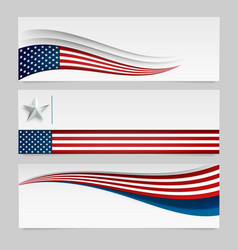 banner with usa flag set abstract vector image