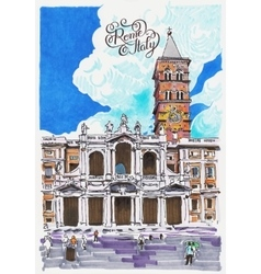 basilica papale santa maria maggiore drawing vector image
